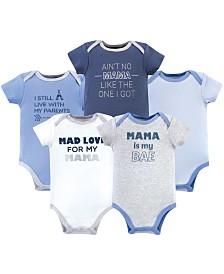 Luvable Friends Cotton Bodysuits, Mama, 5 Pack, 18-24 Months