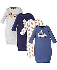 Hudson Baby Cotton Gowns, Ice Cream Truck, 4 Pack, 0-6 Months