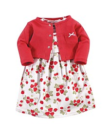 Hudson Baby Dress and Cardigan Set, Strawberries, 4 Toddler