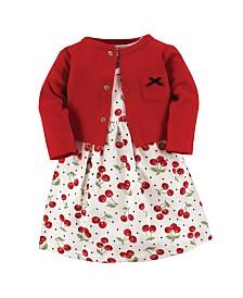 Hudson Baby Dress and Cardigan Set, Cherries, 3 Toddler