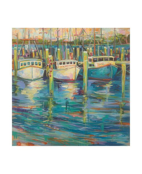 "Trademark Global Jeanette Vertentes Trio of Boats Canvas Art - 36.5"" x 48"""