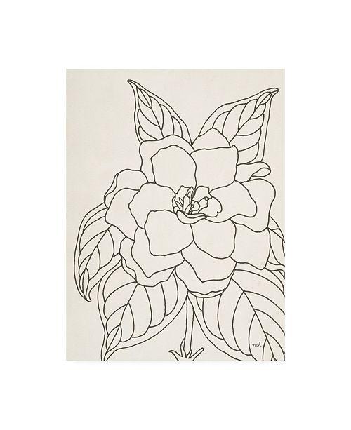 "Trademark Global Moira Hershey Gardenia Line Drawing Crop Canvas Art - 15.5"" x 21"""