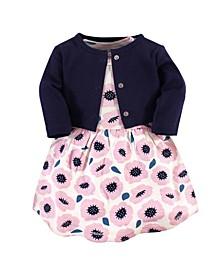 Organic Cotton Dress and Cardigan Set, Blossoms, 5 Toddler