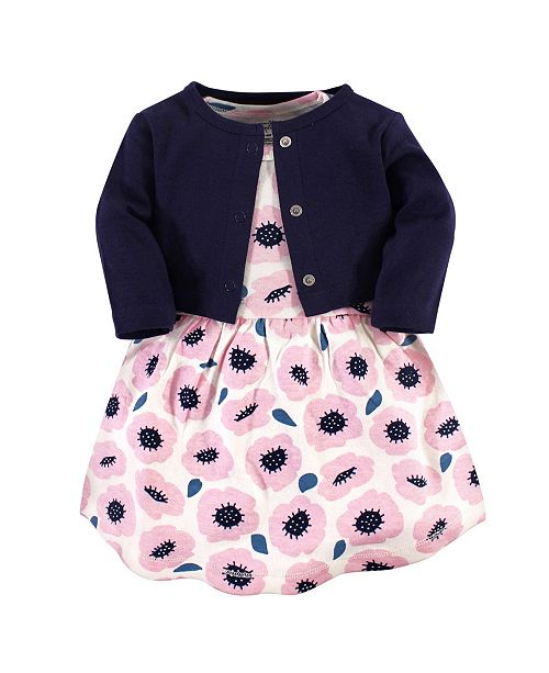 Touched by Nature Organic Cotton Dress and Cardigan Set, Blossoms, 5 Toddler