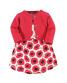 Touched by Nature Organic Cotton Dress and Cardigan Set, Poppy, 0-3 Months
