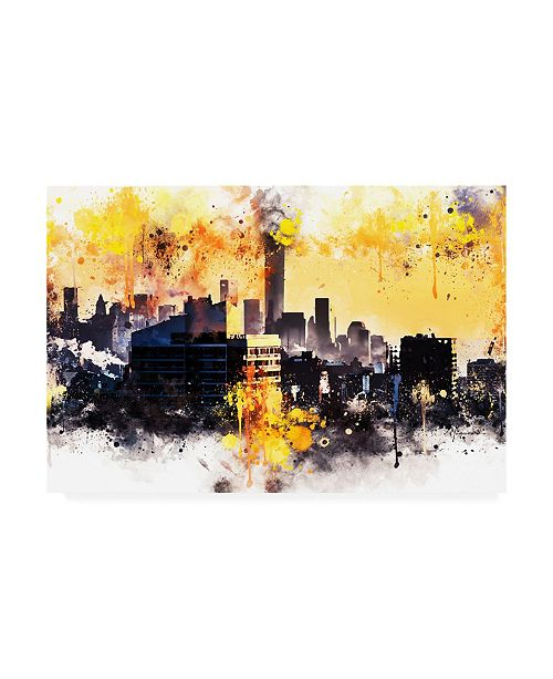 "Trademark Global Philippe Hugonnard NYC Watercolor Collection - New York Colors Sunset Canvas Art - 36.5"" x 48"""