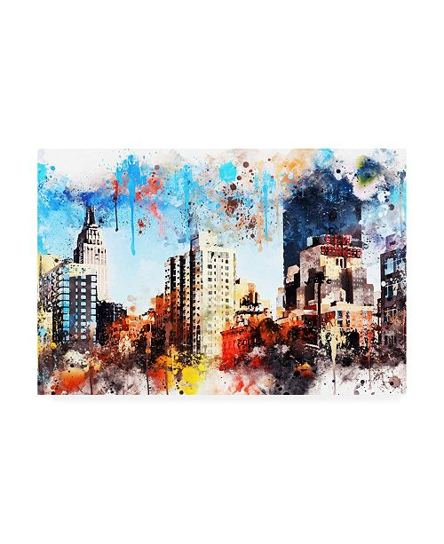 "Trademark Global Philippe Hugonnard NYC Watercolor Collection - Manhattan Buildings Canvas Art - 36.5"" x 48"""