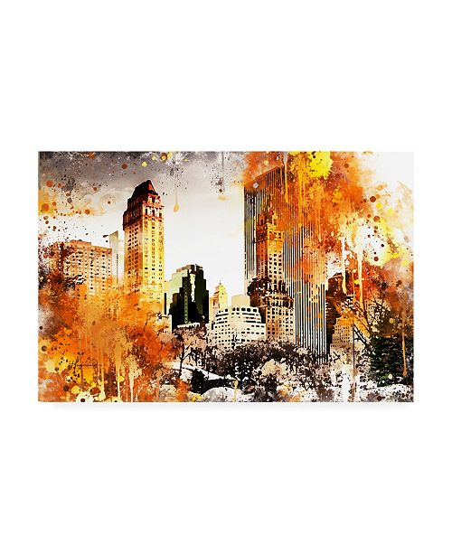 "Trademark Global Philippe Hugonnard NYC Watercolor Collection - Golden Central Park Canvas Art - 36.5"" x 48"""