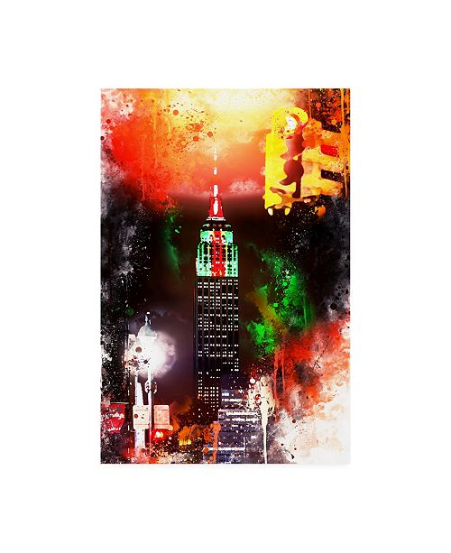 """Trademark Global Philippe Hugonnard NYC Watercolor Collection - Empire by Night Canvas Art - 27"""" x 33.5"""""""