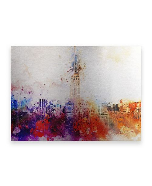 "Trademark Global Philippe Hugonnard NYC Watercolor Collection - Empire Skyline Floating Brushed Aluminum Art - 21"" x 25"""