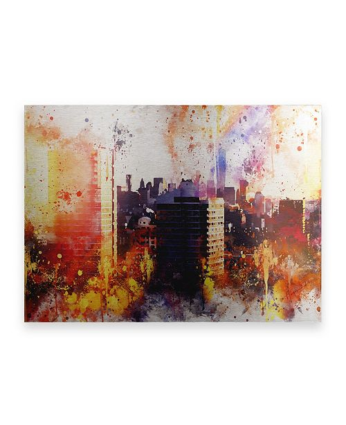 "Trademark Global Philippe Hugonnard NYC Watercolor Collection - New York Sunset Floating Brushed Aluminum Art - 21"" x 25"""