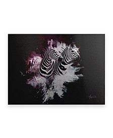 "Philippe Hugonnard Wild Explosion Collection - the Zebras Floating Brushed Aluminum Art - 21"" x 25"""