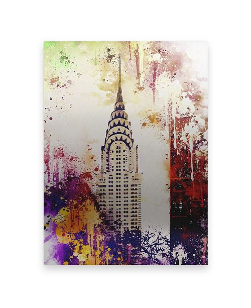 "Trademark Global Philippe Hugonnard NYC Watercolor Collection - Chrysler Building Floating Brushed Aluminum Art - 21"" x 25"""