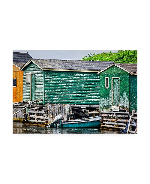 "Trademark Global Chuck Burdic Weathered Boat House Canvas Art - 19.5"" x 26"""