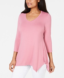 JM Collection V-Neck Handkerchief-Hem Top, Created for Macy's