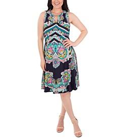 Embellished Printed Dress
