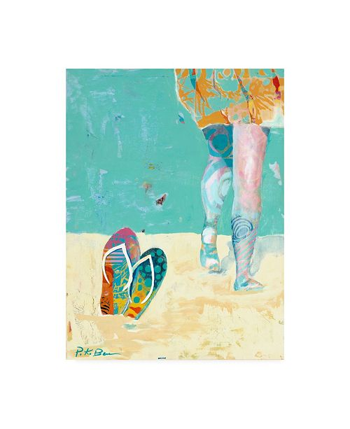 "Trademark Global Pamela K. Bee Flip Flops on the Beach Canvas Art - 15.5"" x 21"""
