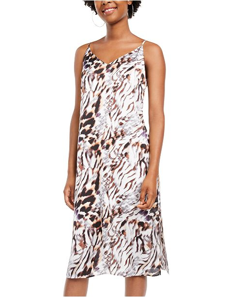One Clothing Juniors' Animal-Print Slip Dress