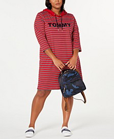 Plus Size Striped Hoodie Dress