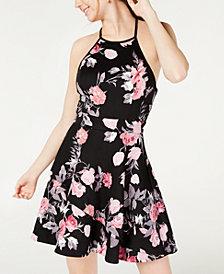 Speechless Juniors' Halter Floral Scuba Dress