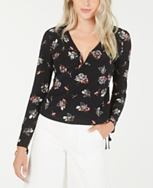 LEYDEN Long-Sleeve Printed V-Neck Top