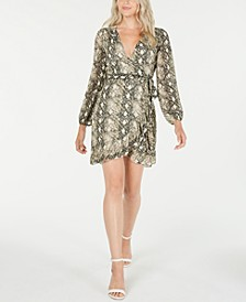 Long-Sleeve Snake Print Wrap Dress