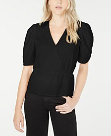 Surplice-Neck Puff-Sleeve Top