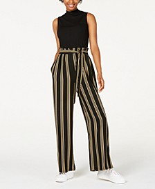 Juniors' Solid & Striped Paperbag-Waist Jumpsuit