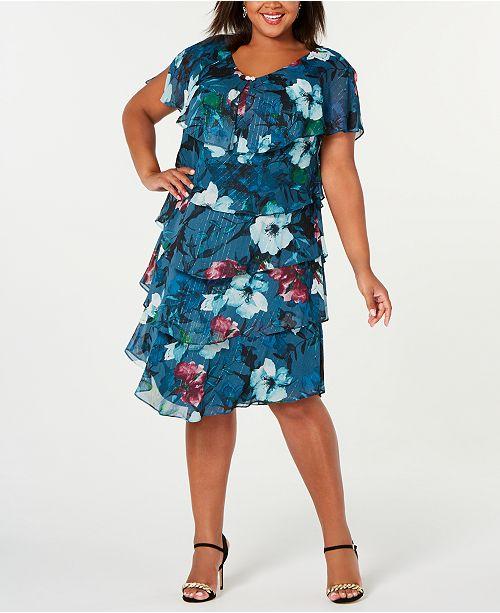Plus Size Metallic Floral Tiered Dress