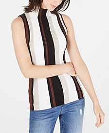 INC Ribbed Mock-Neck Sleeveless Sweater, Created for Macy's