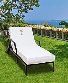 Standard Size Chaise Lounge Cover with Embroidered Palm Tree