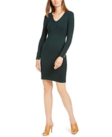 Button-Sleeve V-Neck Sweater Dress