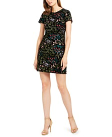 Embroidered-Velvet Sheath Dress