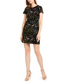 Calvin Klein Petite Embroidered Velvet Sheath Dress