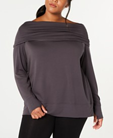 Ideology Plus Size Off-The-Shoulder Sweatshirt, Created for Macy's