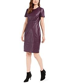 Faux-Leather Sheath Dress