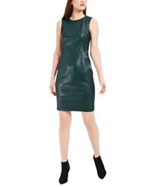 Calvin Klein Faux-Leather Sheath Dress