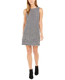 Petite Fringe Tweed Shift Dress