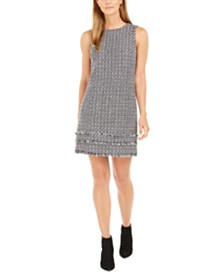 Calvin Klein Fringed Tweed Shift Dress