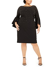 Plus Size Studded Bell-Sleeve Dress