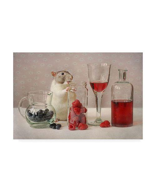 """Trademark Global Ellen Van Deelen Snoozy with Fruit Canvas Art - 15"""" x 20"""""""