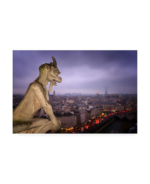 "Trademark Global Karen Deakin Gargoyle of Notre Dame Cathedral Paris Canvas Art - 20"" x 25"""