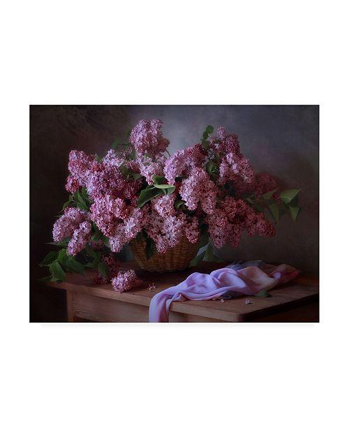 "Trademark Global Tatiana Runner with a Basket of Lilacs Canvas Art - 37"" x 49"""