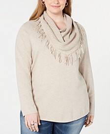 Plus Size Fringed Cowl-Neck Sweater, Created for Macy's