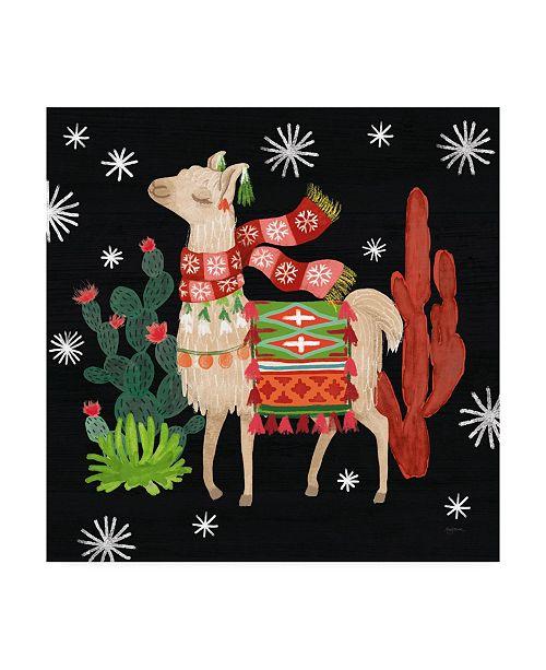 "Trademark Global Mary Urban Lovely Llamas IV Christmas Black Canvas Art - 15"" x 20"""