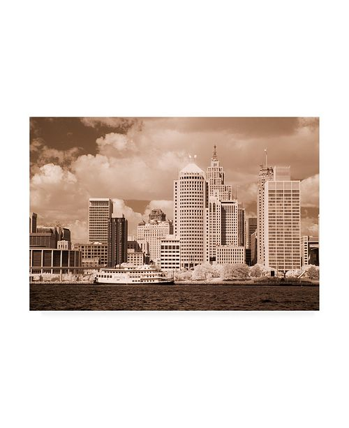 "Trademark Global Monte Nagler Detroit Skyline Detroit Michigan Monotint Canvas Art - 15"" x 20"""