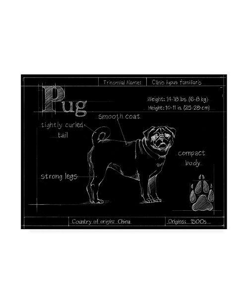"Trademark Global Ethan Harper Blueprint Pug Canvas Art - 20"" x 25"""