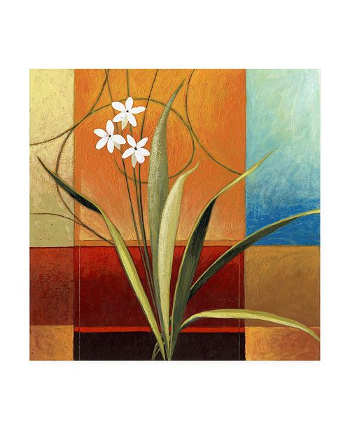 "Trademark Global Pablo Esteban Narrow Palm on Patches Canvas Art - 15.5"" x 21"""
