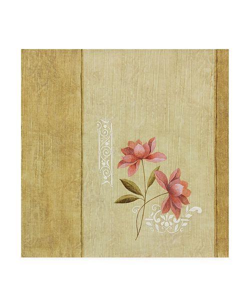 "Trademark Global Pablo Esteban Pink Flowers Abstract Beige Canvas Art - 15.5"" x 21"""