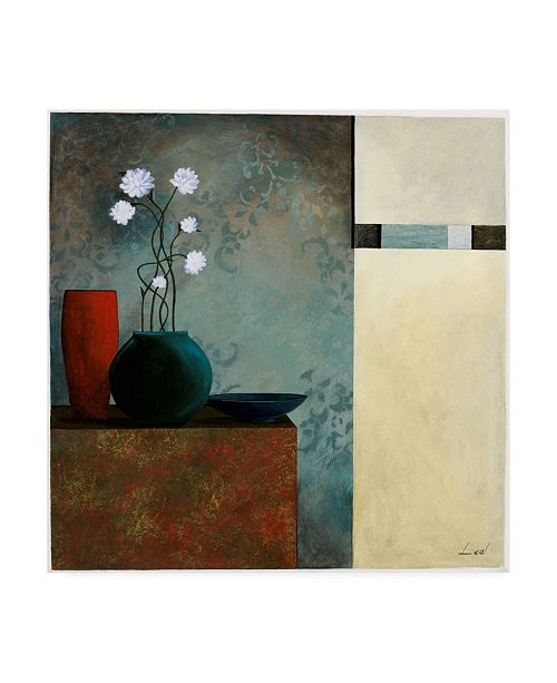"Trademark Global Pablo Esteban Tall Branch Flowers in Blue 2 Canvas Art - 15.5"" x 21"""